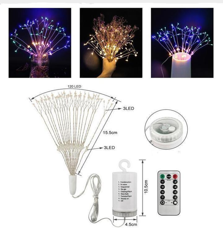 LED Starburst Lights with Remote, 8 Modes & Waterproof