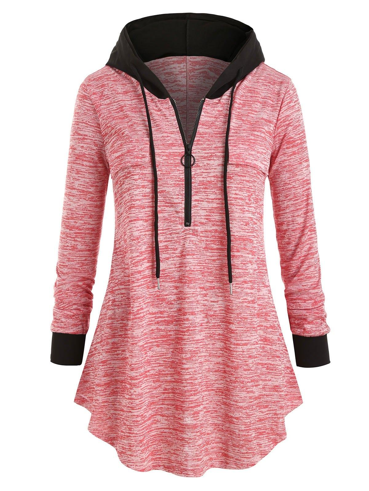 Plus Size Space Dye Half-zip Hooded Tunic Top