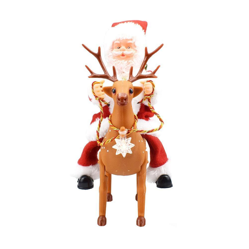 Christmas Gift Music Walking Riding Deer Santa