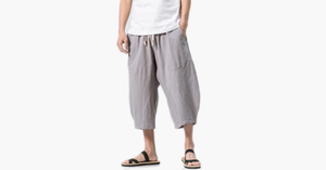 Men's Breathable Cotton Linen Drawstring Casual Shorts