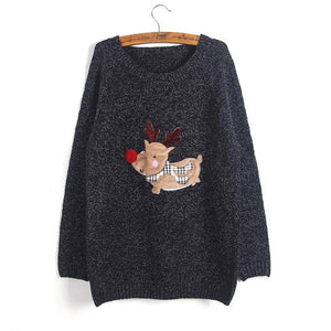 Stylish Ugly Christmas Sweater Women Reindeer Knitted Pullovers O-neck Long Sleeve Women Sweaters