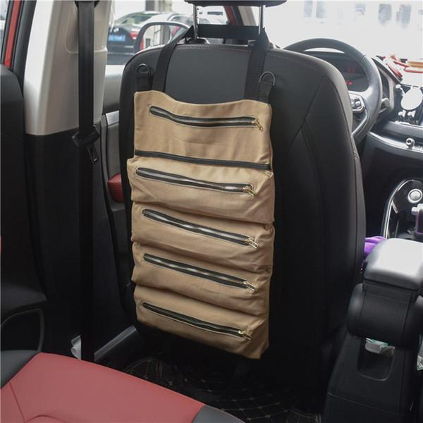 Multi-Purpose Tool Roll Up Bag Wrench Roll Pouch Hanging Tool Zipper Carrier Tote Canvas Car Organizer 5 Pockets Portable