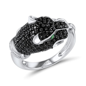 Ring Black & White Panther (silber 925)