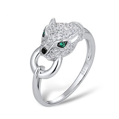Ring weißer Panther (silber 925)