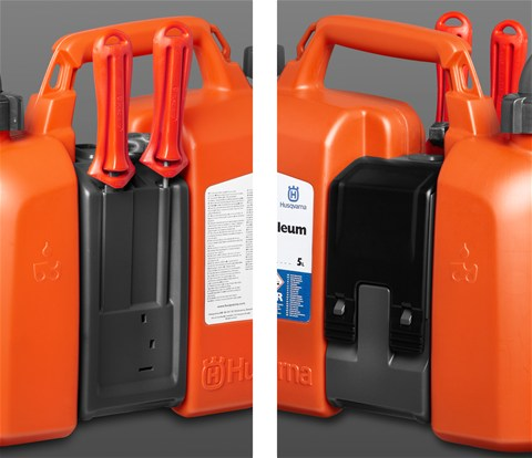 Husqvarna Combi Fuel Can showing the tool holder.