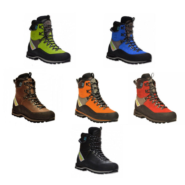 Arbortec Scafell Lite chainsaw boots showing all colours.