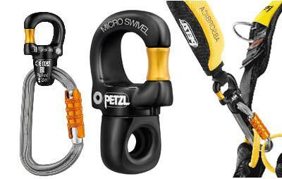 Petzl micro swivel connected to a carabiner