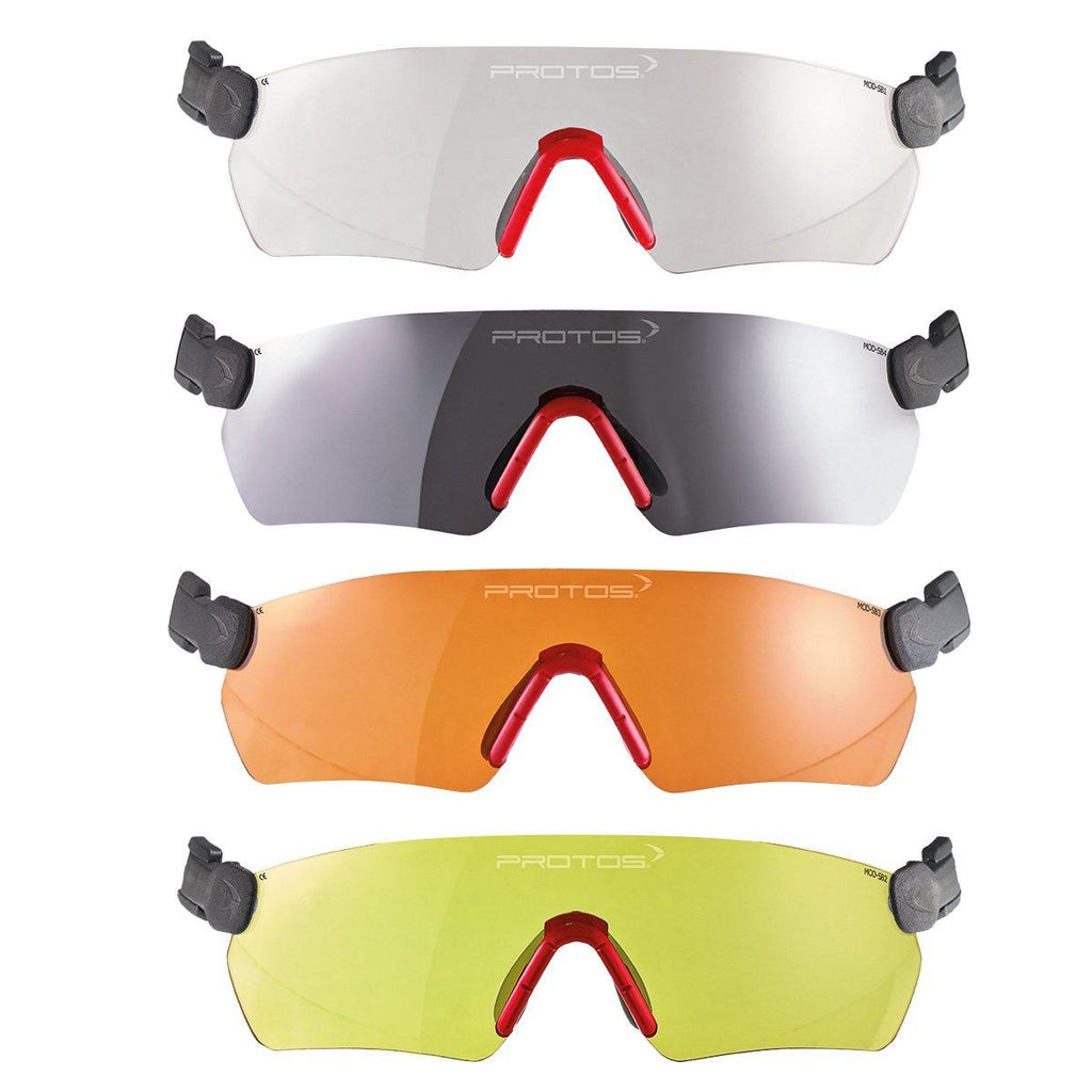 Protos integrated glasses showing all colours.