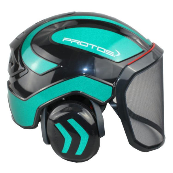 Protos Arborist Integral Helmet - Black/Green Reflective shining