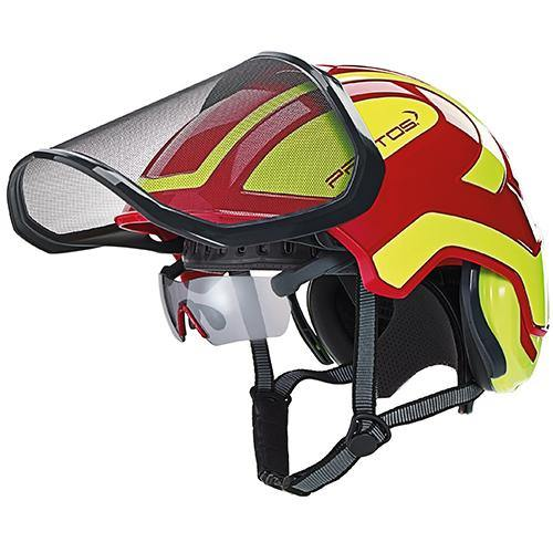 Protos integrated glasses attached to red helmet.