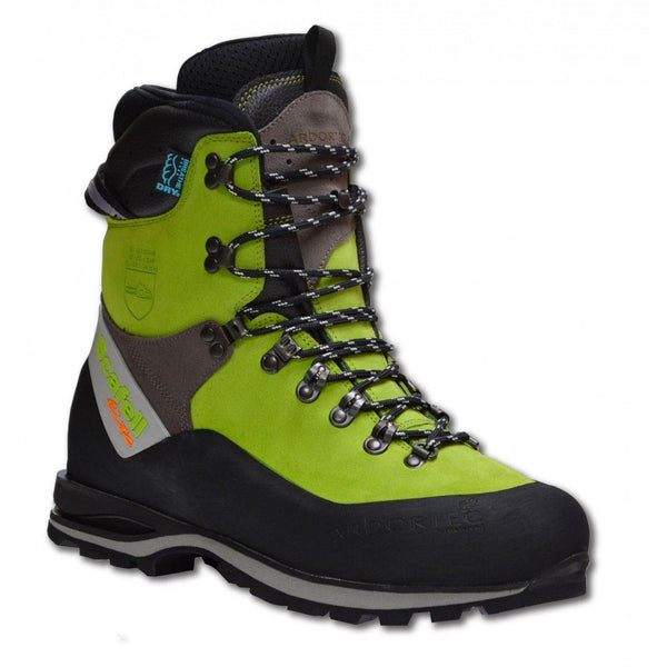 Arbortec Scafell Lite chainsaw boots in lime.