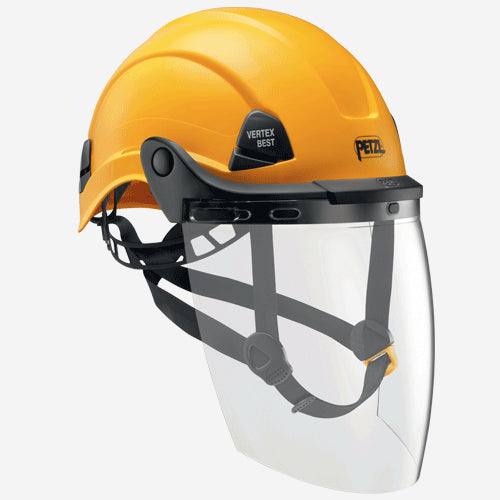 Petzl Vizen Face Shield fitted to helmet