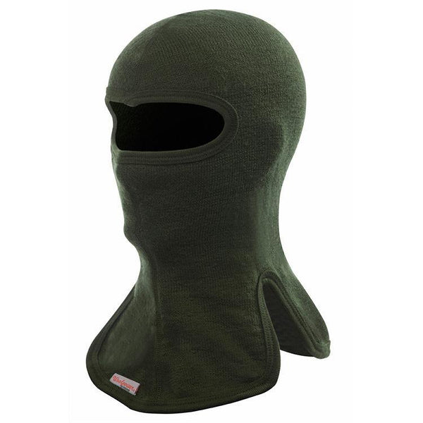 Woolpower Balaclava 400 in green.