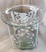 Glass t-light wax melt burner with leaf design