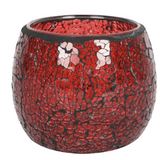 Large Red crackle candle holder
