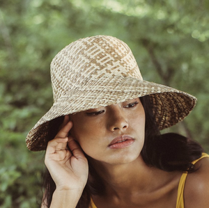 Borneo Fisherman Bucket Straw Hat, in Beige