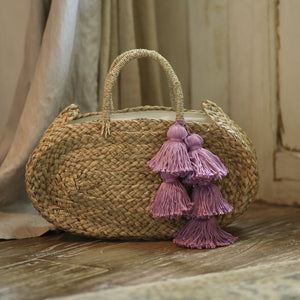 Oval Luna Straw Tote Bag - with Lavender Purple Tassels