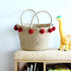 Woven Market Basket Bag, with Cranberry Red Pom-poms