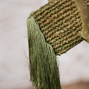 Canggu Fringe Raffia Straw Clutch, in Olive Green