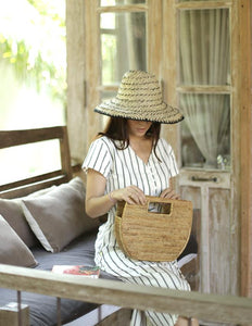 Balinese Pecatu Bucket Straw Hat, in Black