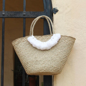 Brunna Muma Roman Tassel Straw Bag, in White - Large Straw Tote Bag, Market Bag