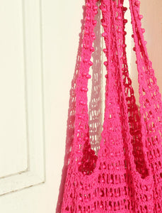 Karma Wooden Beads Crochet Bag in Dragon Fruit Pink