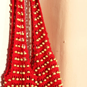 Karma Wooden Crochet Beads Bag in Red