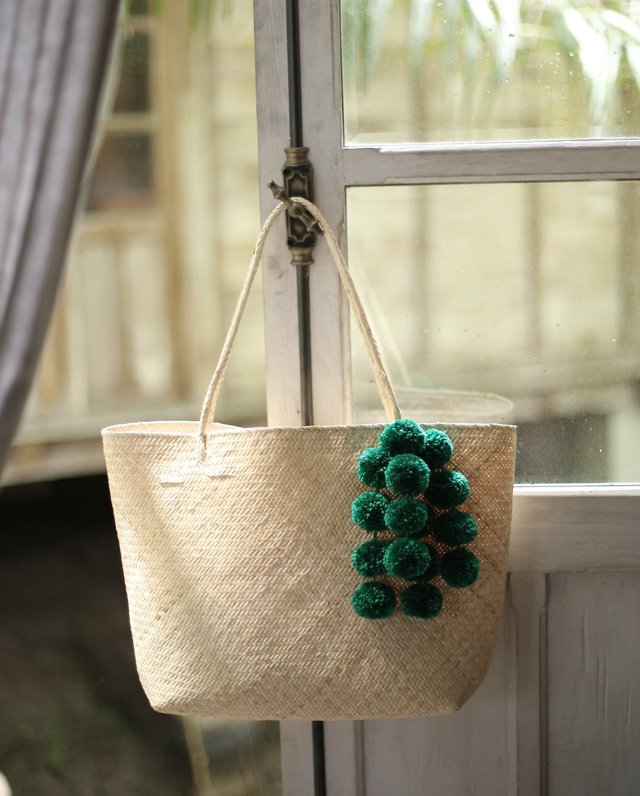 Borneo Sani Straw Tote Bag with Emerald Green Pom-poms