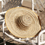 Yellow Balinese Pecatu Wide Round Straw Hat