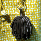 Upcycled Suede Leather Pom Tassel Bag Charm in Black