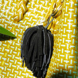 Brunna Upcycled Suede Leather Pom Tassel Bag Charm - in Black ?id=2197951578146