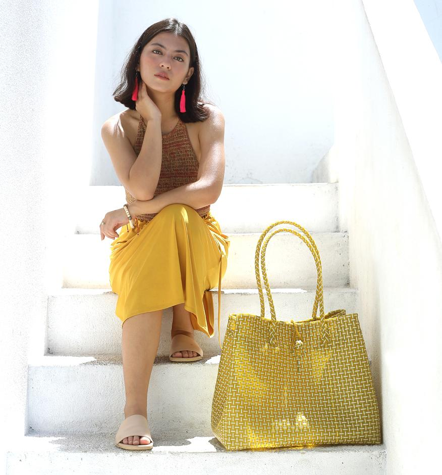 TOKO Straw Bag, Plastic Straw Tote Bag, Woven Beach Bag, Beach Handbag, Beach Tote Bag, in Mustard Yellow ?id=2312946548770