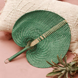 Balinese Woven Hand Fan in Emerald