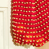 Crochet Wooden Beaded Bag in Red