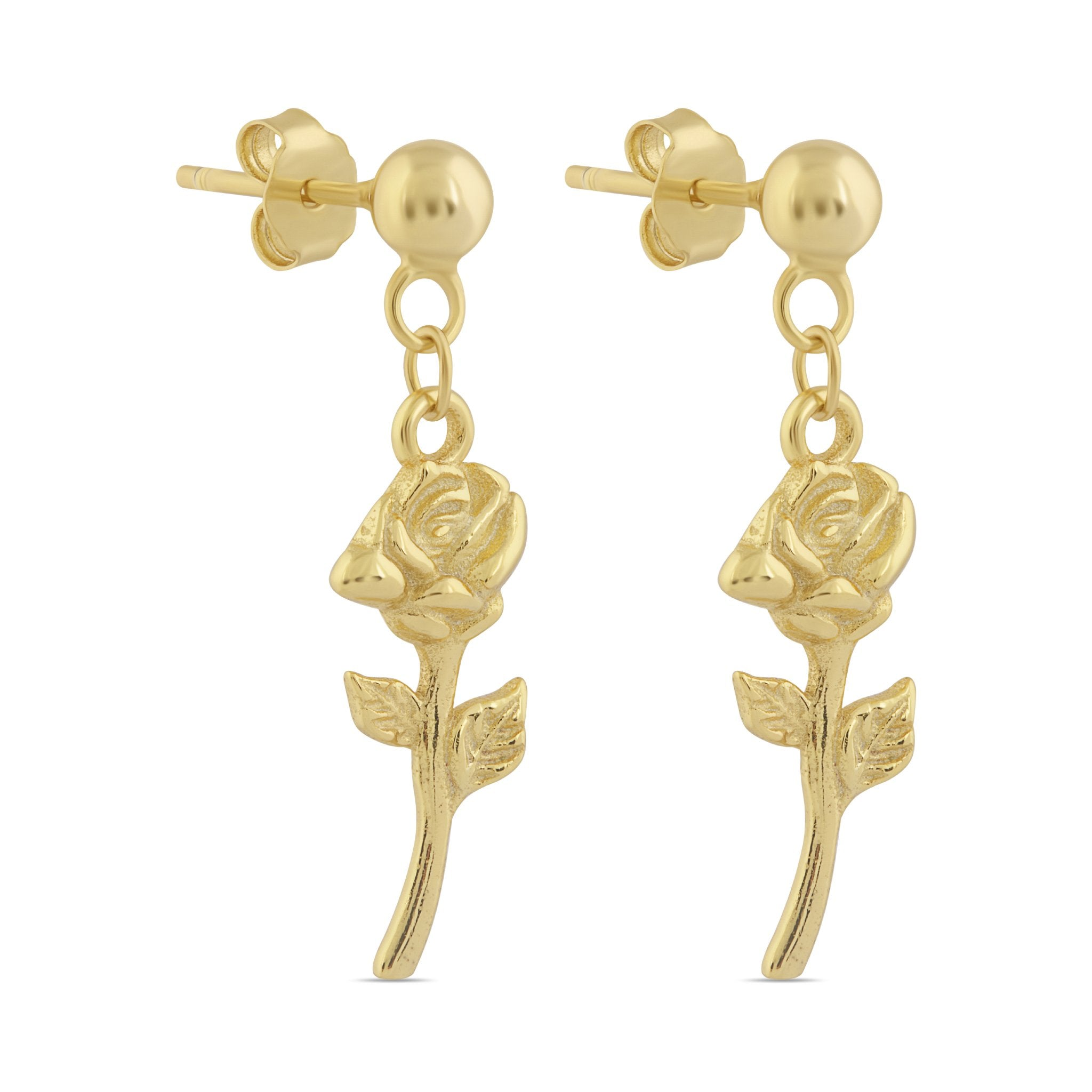 Gorgeous Gold Earrings in Rose Design