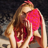 Arnoldi Jean Hand-beaded Clutch in Red & Pink
