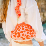 Arnoldi Peachpuff Hand-beaded Clutch in Papaya & Peach