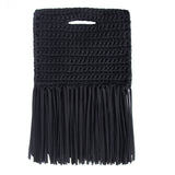 Handcrafted Clutch in Denim with Fringe made from upcycled cotton by Binge Knitting ?id=1954315108396