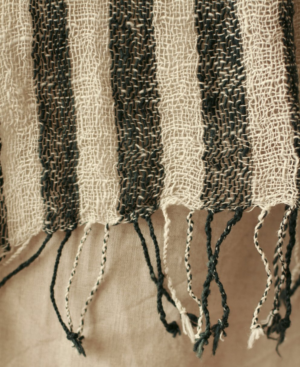 Fatima Hand-loomed Raw Cotton Scarf in Black