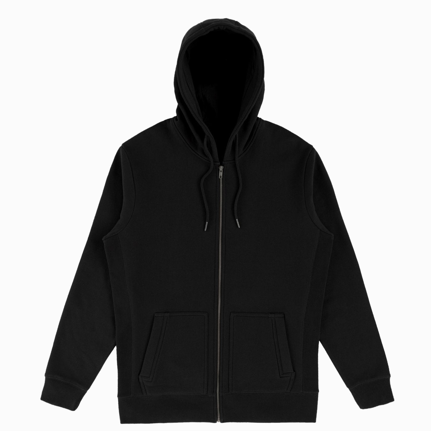 Black Organic Cotton Zip-Up Men's Sweatshirt