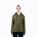 Olive Green Organic Cotton Zip-Up Sweatshirt