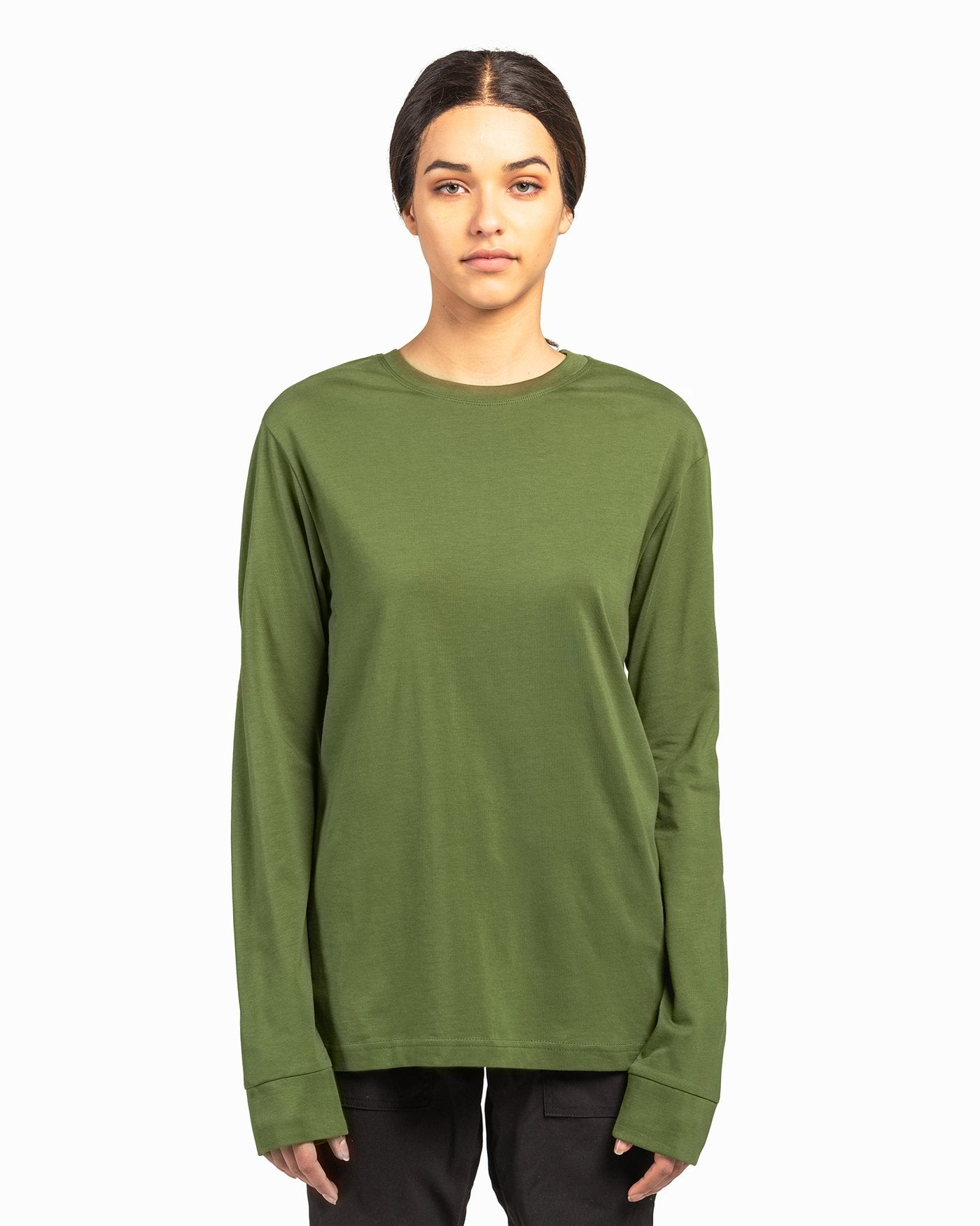 Olive Green American Grown Soft Supima® Cotton Men's Long Sleeve