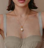 Square Chain Gold Pearl Pair Necklace