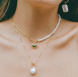 Gold and Pearl Toggle Necklace