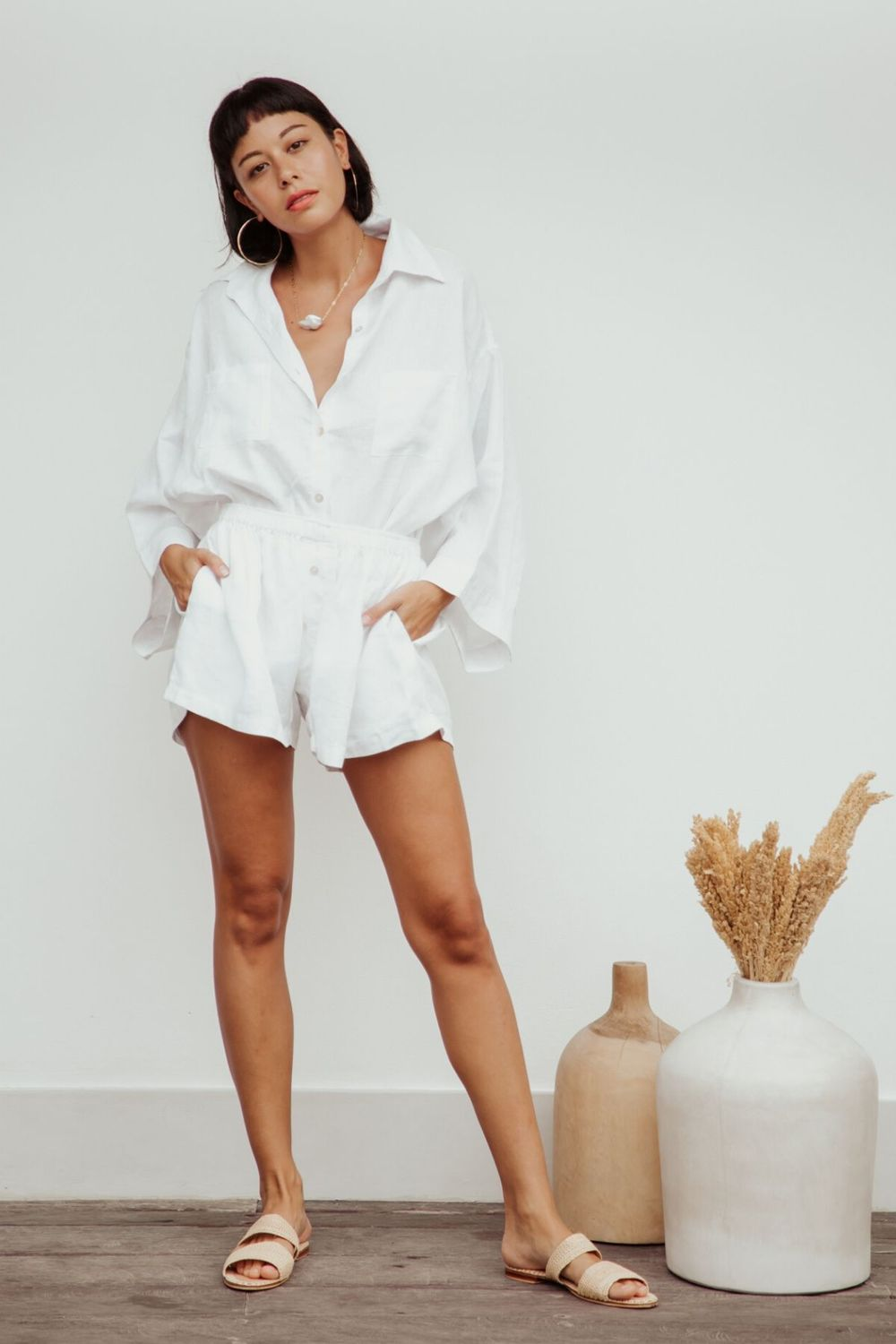 white linen button down top