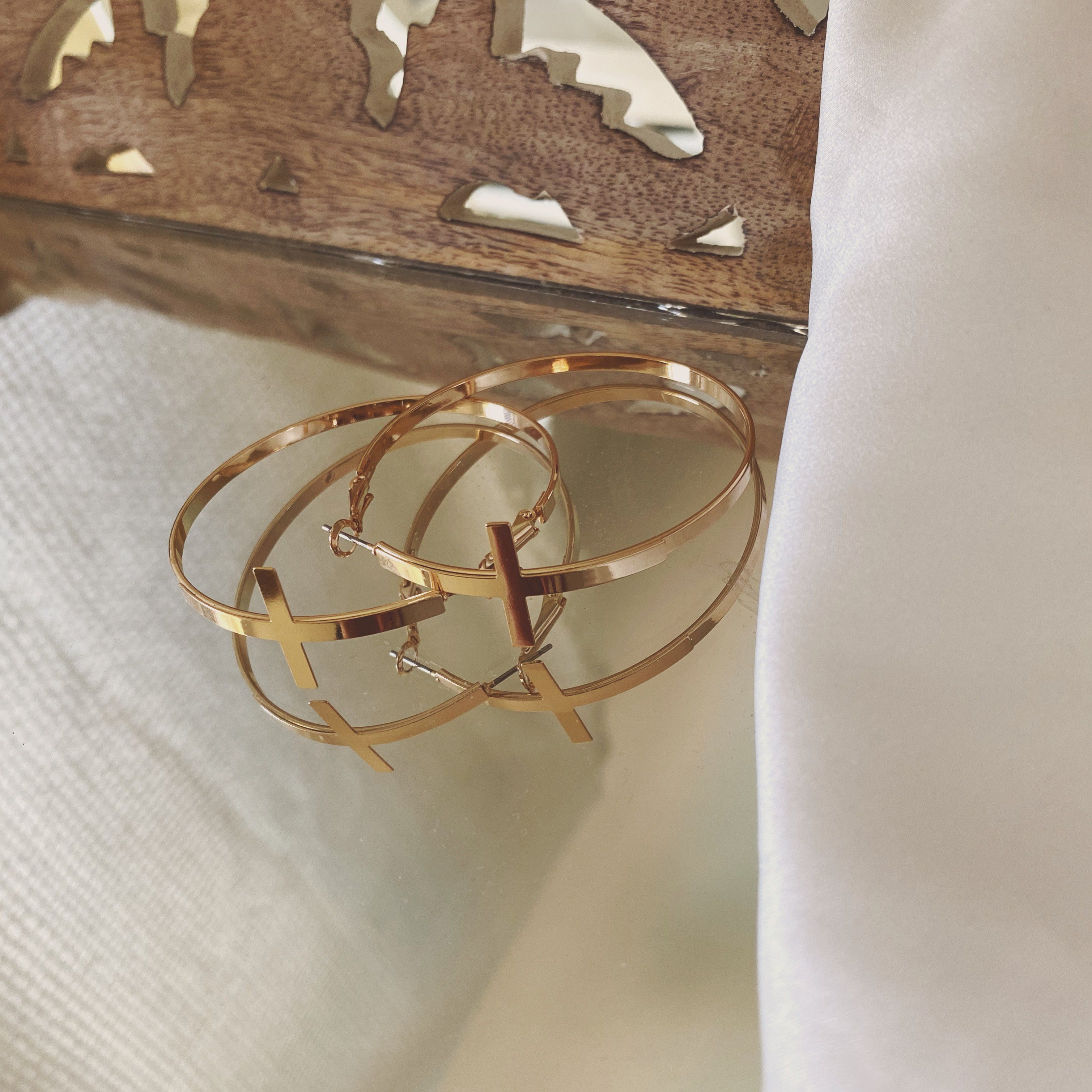 Gold Cross Hoop Earrings Earrings Marandria