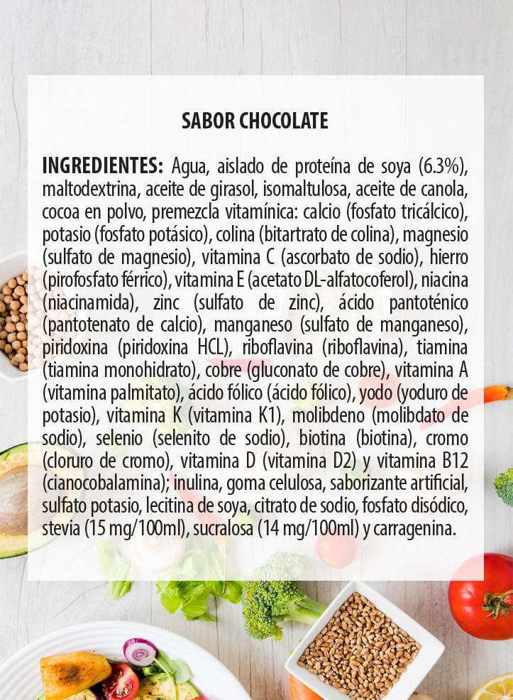 Ingredientes One Food Chocolate