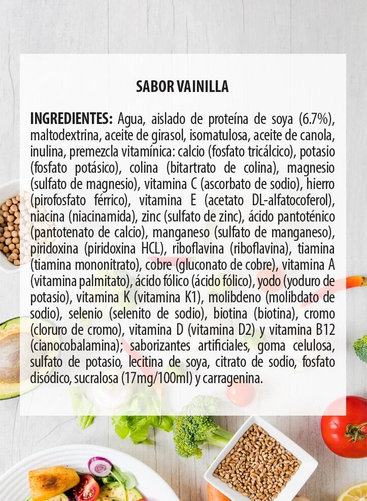Ingredientes One Food Vainilla