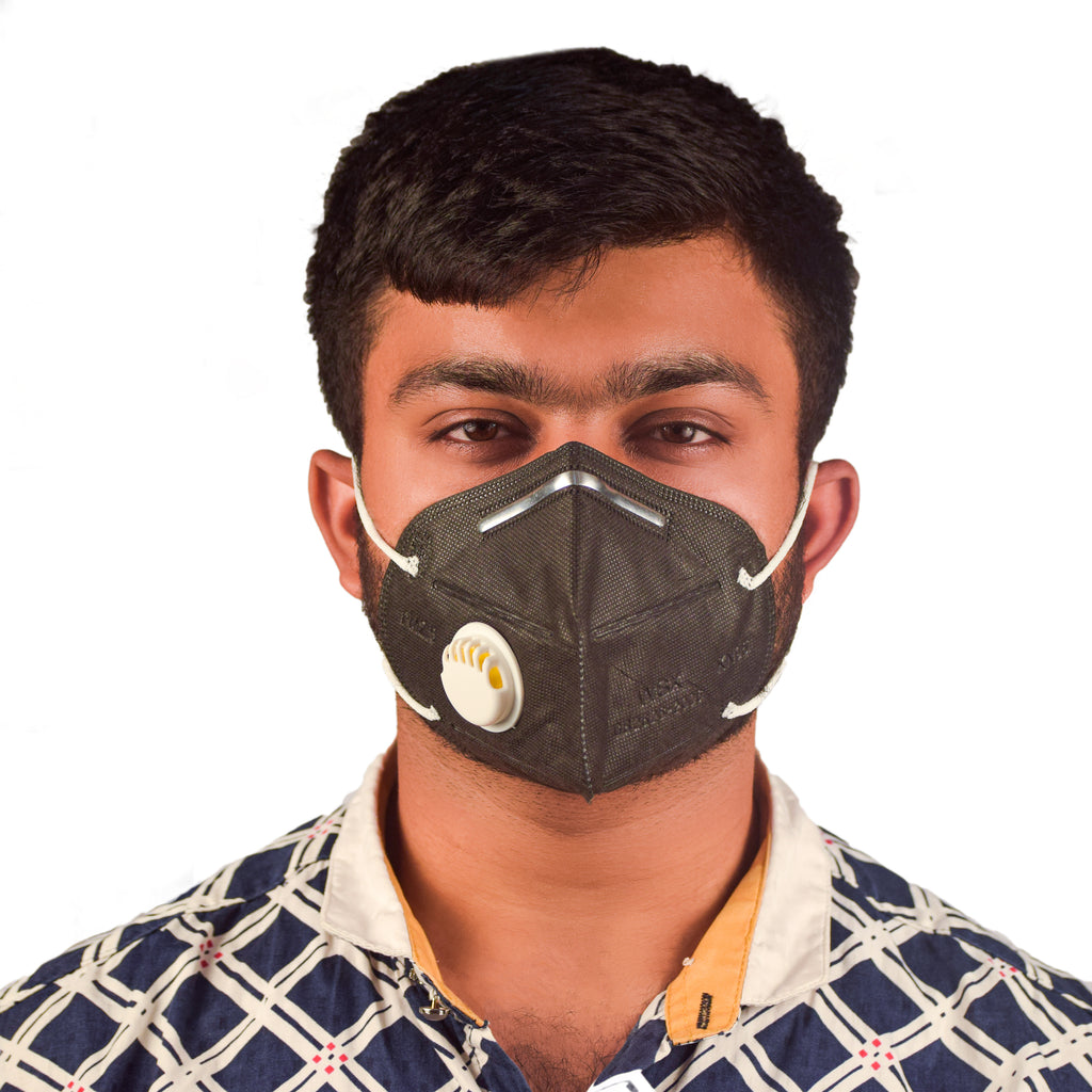 N95 Black Anti Pollution Virus Protection Mask With White Respirator  (Pack of 5)