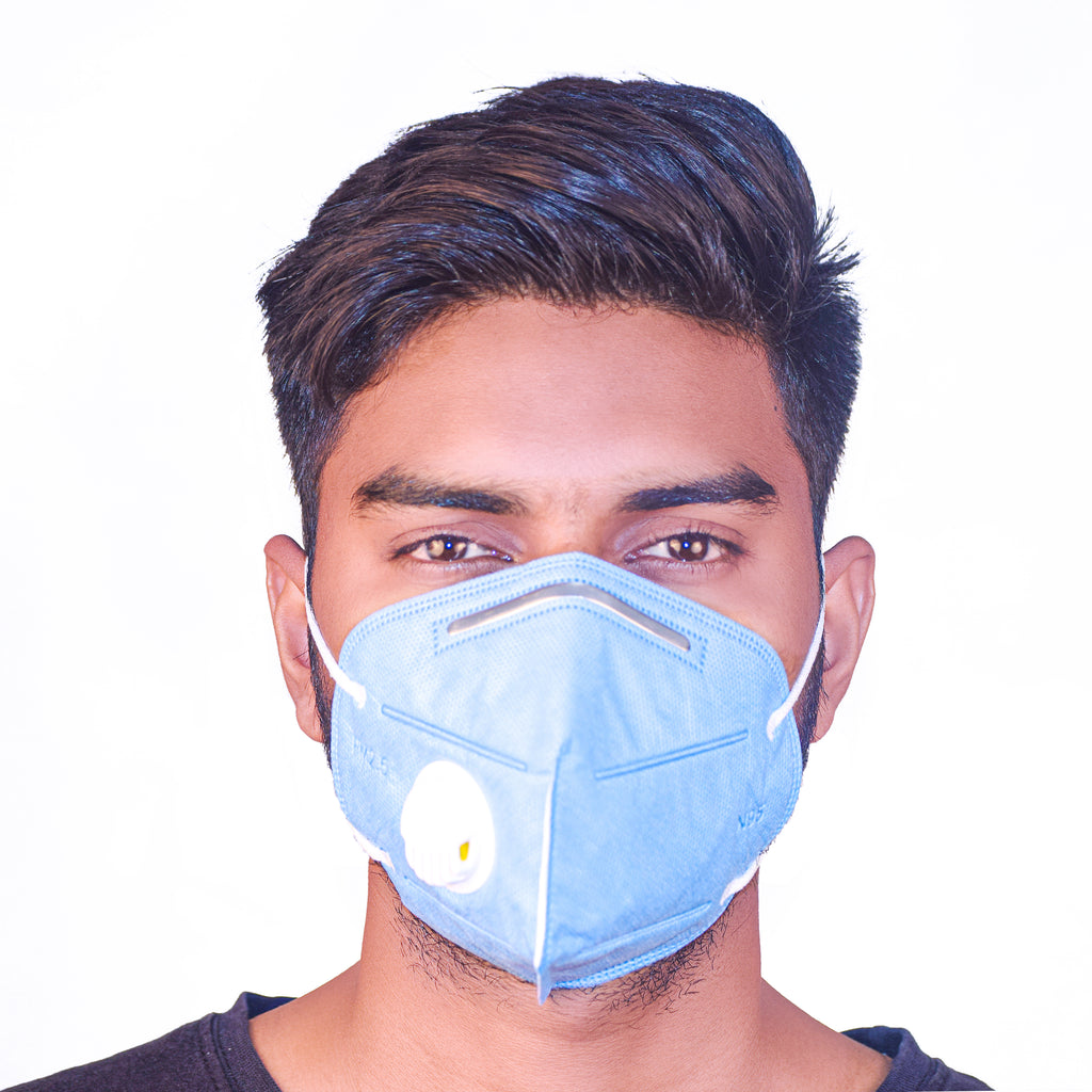 N95 Anti Pollution Virus Protection Mask With Respirator Sky Blue (Pack of 5)